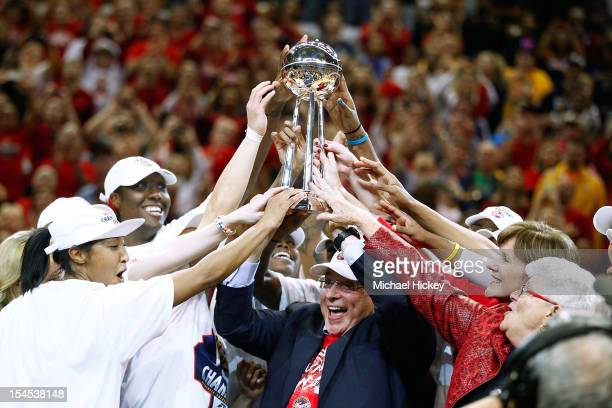 Owner Herb Simon of the Indiana Fever hoists the WNBA Championship trophy after defeating the Minnesota Lynx in Game Four of the 2012 WNBA Finals on...