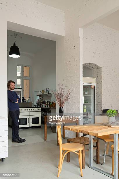 Owner in his modern individual bistro