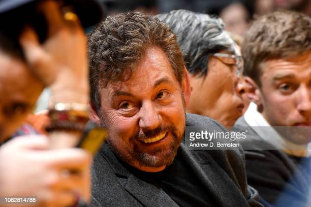 Owner James L Dolan of the New York Knicks smiles at the game against the Los Angeles Lakers on January 4 2019 at STAPLES Center in Los Angeles...