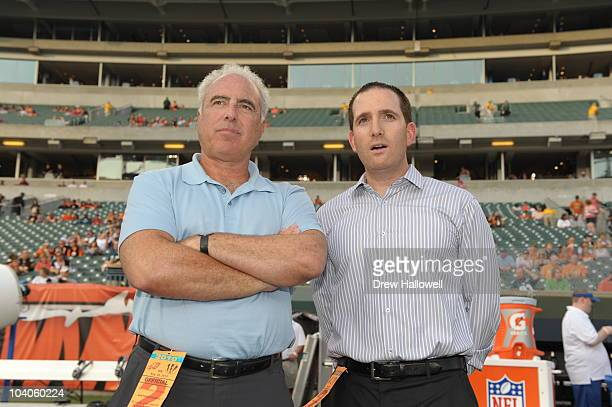 Owner Jeffrey Lurie and general manager Howie Roseman of the Philadelphia Eagles stand on the sideline before the game against the Cincinnati Bengals...