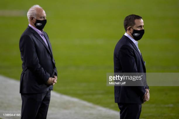 Owner Jeffrey Lurie of the Philadelphia Eagles and general manager Howie Roseman look on prior to the game against the Seattle Seahawks at Lincoln...