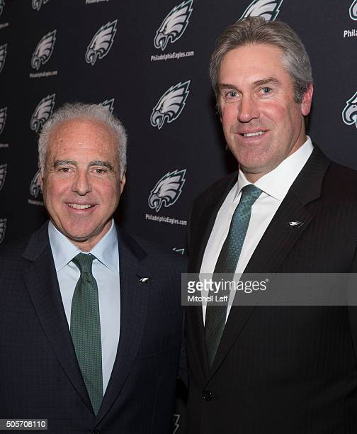 Owner Jeffrey Lurie of the Philadelphia Eagles and new head coach Doug Pederson pose for a picture on January 19 2016 at the NovaCare Complex in...