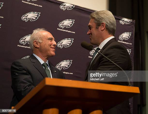 Owner Jeffrey Lurie of the Philadelphia Eagles announces their new head coach Doug Pederson on January 19 2016 at the NovaCare Complex in...