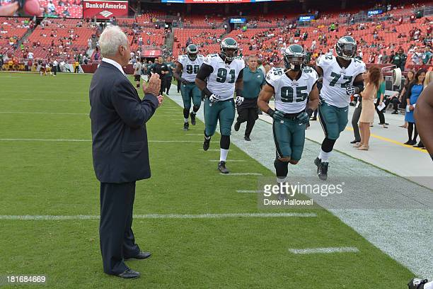 Owner Jeffrey Lurie of the Philadelphia Eagles claps for the players before the game at FedEx Field on September 9, 2013 in Landover, Maryland. The...