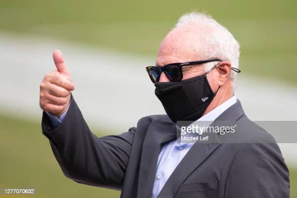 Owner Jeffrey Lurie of the Philadelphia Eagles gives a thumbs up prior to the game against the Cincinnati Bengals at Lincoln Financial Field on...