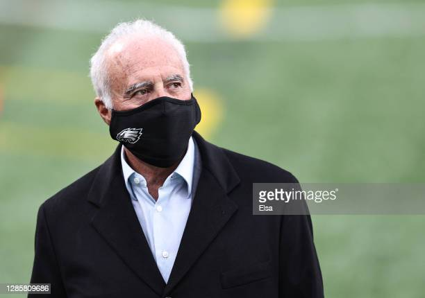 Owner Jeffrey Lurie of the Philadelphia Eagles looks on during warmups before the game against the New York Giants at MetLife Stadium on November 15,...