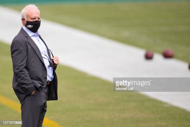 Owner Jeffrey Lurie of the Philadelphia Eagles looks on prior to the game against the Cincinnati Bengals at Lincoln Financial Field on September 27,...