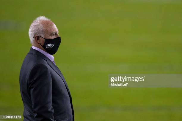 Owner Jeffrey Lurie of the Philadelphia Eagles looks on prior to the game against the Seattle Seahawks at Lincoln Financial Field on November 30,...