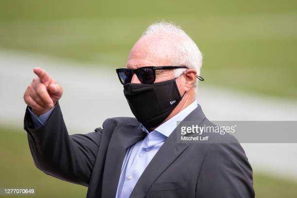Owner Jeffrey Lurie of the Philadelphia Eagles points prior to the game against the Cincinnati Bengals at Lincoln Financial Field on September 27,...