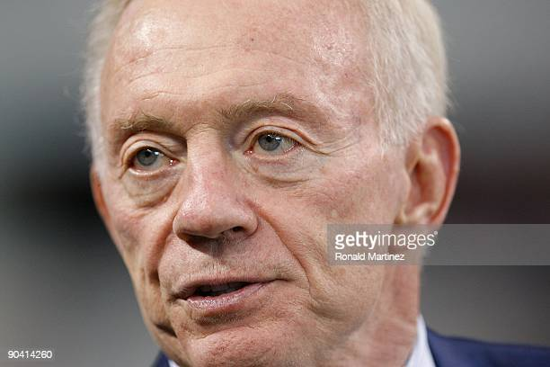 Owner Jerry Jones of the Dallas Cowboys before a game between the Brigham Young Cougars and the Oklahoma Sooners at Cowboys Stadium on September 5...