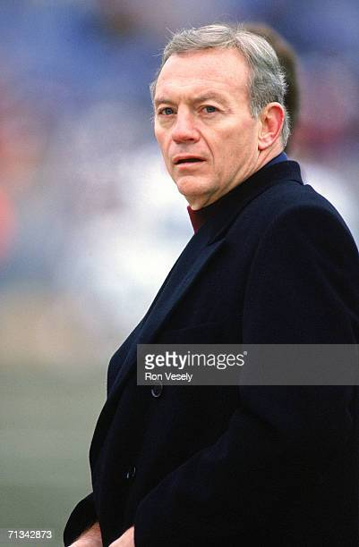 Owner Jerry Jones of the Dallas Cowboys looks on during a game in the 1992 season