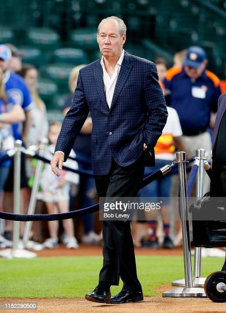 Owner Jim Crane of the Houston Astros attends batting practice at Minute Maid Park on May 28 2019 in Houston Texas