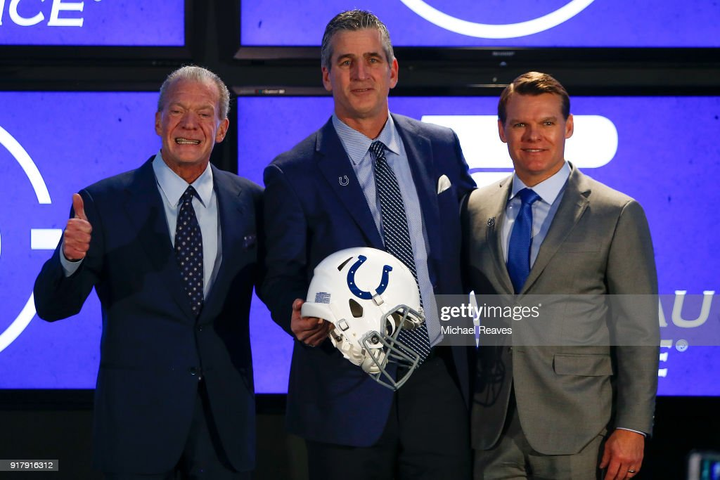 Owner Jim Irsay, head coach Frank Reich and general manager Chris Ballard of the Indianapolis Colts pose for a photo during the press conference introducing head coach Frank Reich at Lucas Oil Stadium on February 13, 2018 in Indianapolis, Indiana.