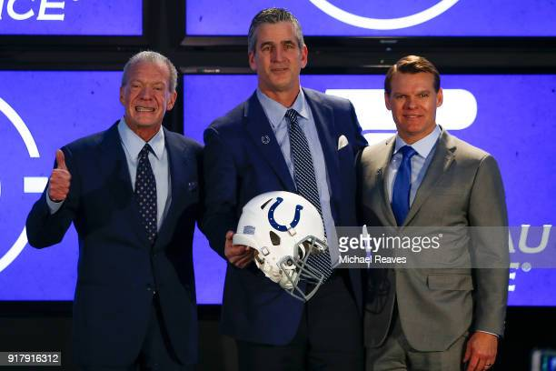 Owner Jim Irsay head coach Frank Reich and general manager Chris Ballard of the Indianapolis Colts pose for a photo during the press conference...