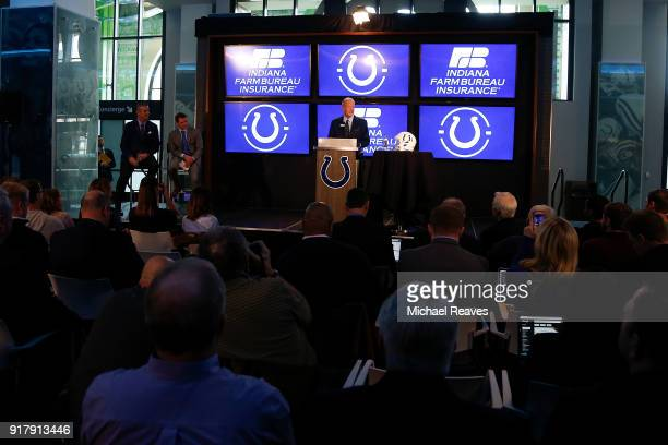 Owner Jim Irsay of the Indianapolis Colts introduces head coach Frank Reich to the media during a press conference at Lucas Oil Stadium on February...