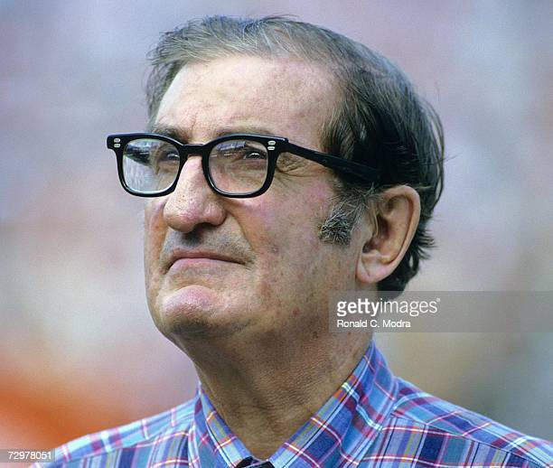 Owner Joe Robbie of the Miami Dolphins looks on during the AFC Divisional Playoff game against the Seattle Seahawks on December 29 l984 in Miami...