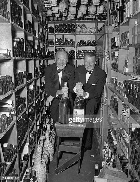 Owner John Perona poses in the wine cellar of his famous New York City nightclub El Morocco at 154 East 54th Street