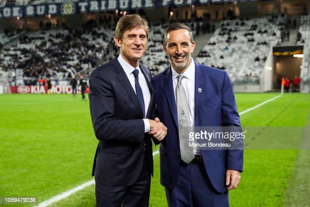 Owner Joseph DaGrosa and President Frederic Longuepee of FC Girondins de Bordeaux during the UEFA Europa League match between Bordeaux and Zenith St...
