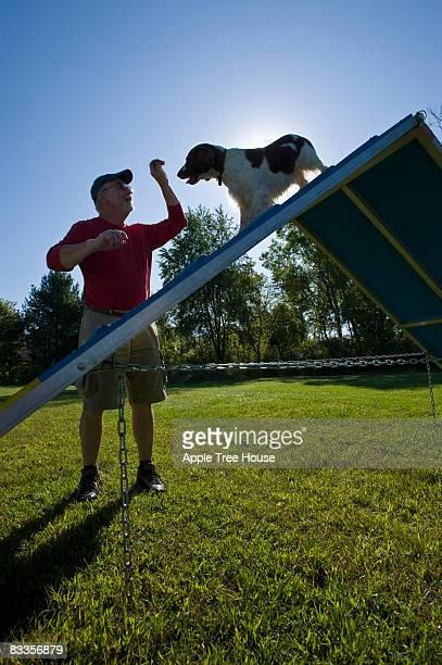 Eigentümer führenden Hund mit A-förmig