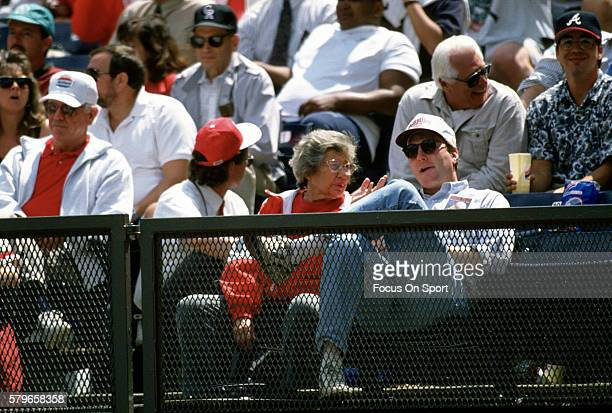 Owner Marge Schott of the Cincinnati Reds looks on from the stands during an Major League Baseball spring training game circa 1994 in Plant City FL