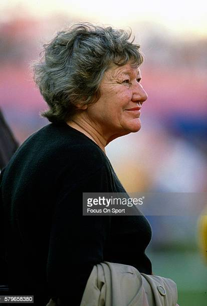 Owner Marge Schott of the Cincinnati Reds looks on prior to the start of a Major League Baseball game circa 1989