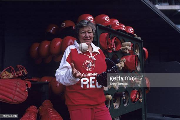 Owner Marge Schott of the Cincinnati Reds poses for a portrait in 1985 at Riverfront Stadium in Cincinnati Ohio Schott is the first woman to buy a...