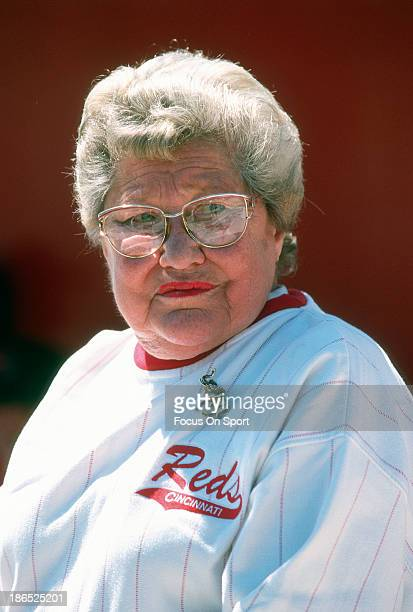 Owner Marge Schott of the Cincinnati Reds stands and looks on prior to the start of a Major League Baseball spring training game circa 1998 in Plant...