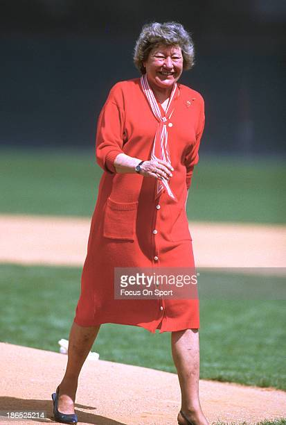 Owner Marge Schott of the Cincinnati Reds walking on the field prior to the start of a Major League Baseball game circa 1990
