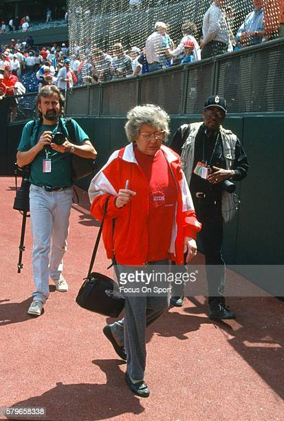 Owner Marge Schott of the Cincinnati Reds walks off the field prior to the start of a Major League Baseball spring training game circa 1994 in Plant...