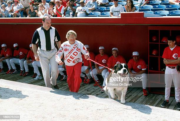 Owner Marge Schott of the Cincinnati Reds with her Saint Bernard dog Schottzie walks out of the dugout prior to the start of a Major League Baseball...