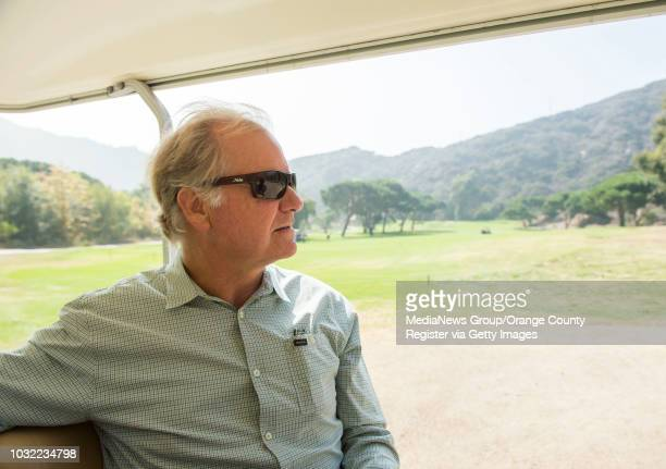 Owner Mark Christy rides to the back of the property during a tour of the recently approved overnight camping area at The Ranch in Laguna Beach, on...