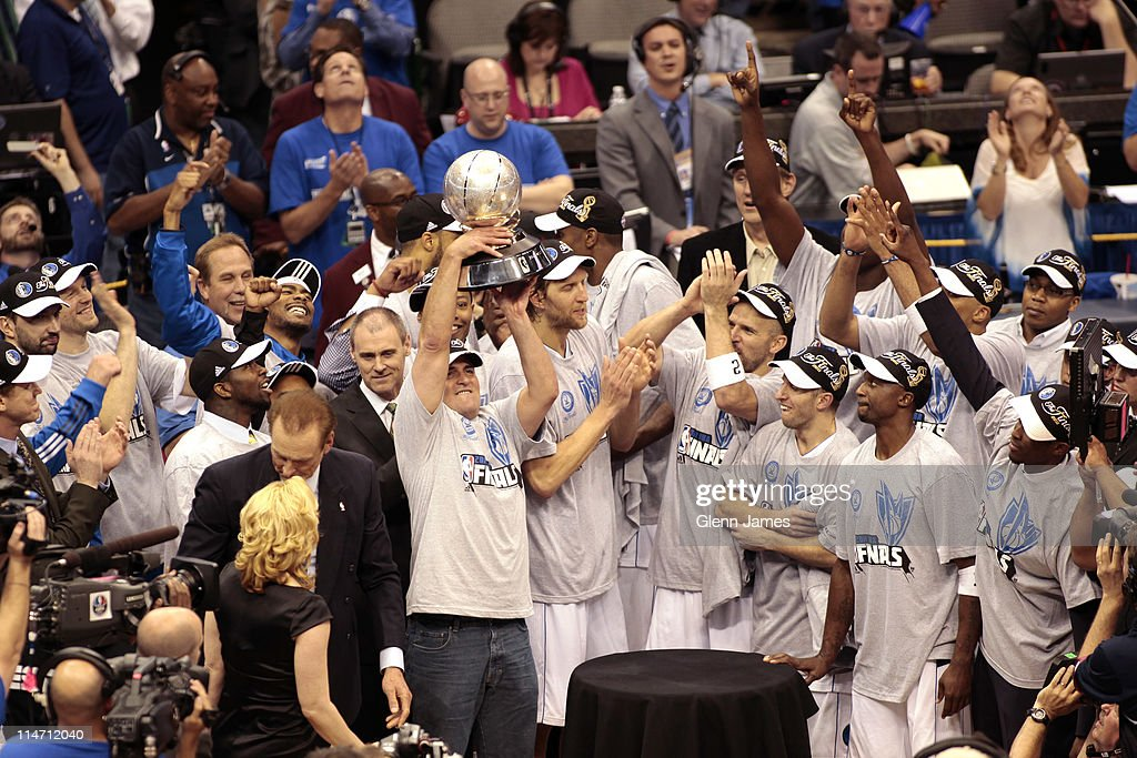 Owner Mark Cuban and the Dallas Mavericks celebrate their victory against the Oklahoma City Thunder during Game Five of the Western Conference Finals in the 2011 NBA Playoffs on May 25, 2011 at the American Airlines Center in Dallas, Texas.