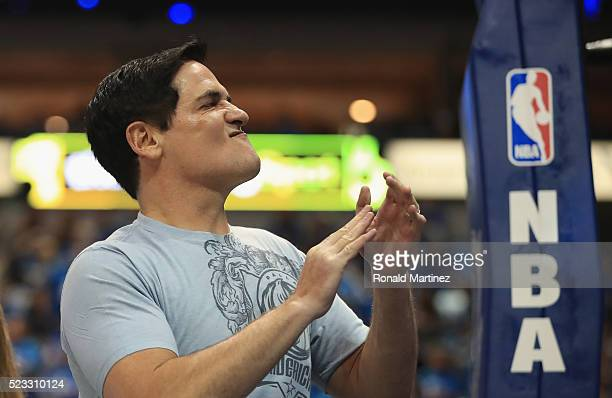 Owner Mark Cuban before game three of the Western Conference Quarterfinals of the 2016 NBA Playoffs at American Airlines Center on April 21 2016 in...