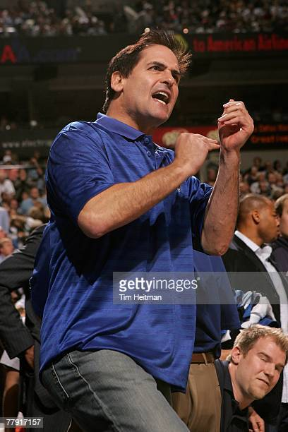 Owner Mark Cuban of the Dallas Mavericks cheers during the game against the Houston Rockets on November 5 2007 at American Airlines Center in Dallas...