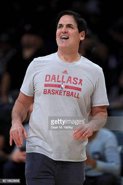 Owner Mark Cuban of the Dallas Mavericks laughs prior to a game against the Los Angeles Lakers at Staples Center on November 8 2016 in Los Angeles...