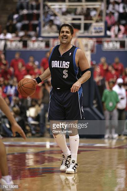 Owner Mark Cuban of the Dallas Mavericks moves the ball up court during the NBA Entertainment League game on April 14 2007 at the Moody Auditorium in...