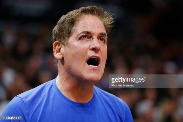 Owner Mark Cuban of the Dallas Mavericks reacts against the Miami Heat during the second half at American Airlines Arena on February 28 2020 in Miami...