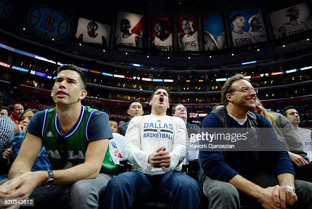 Owner Mark Cuban of the Dallas Mavericks reacts during the first half of the basketball game against Los Angeles Clippers at Staples Center April 10...