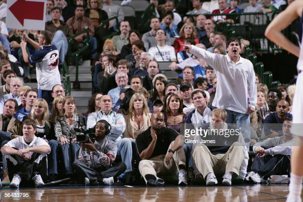 Owner Mark Cuban of the Dallas Mavericks yells during the game against the Memphis Grizzlies at American Airlines Arena on November 26 2005 in Dallas...