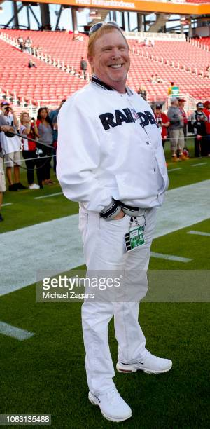 Owner Mark Davis of the Oakland Raiders stands on the field prior to the game against the San Francisco 49ers at Levi's Stadium on November 1 2018 in...