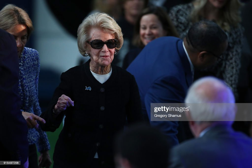 Owner Martha Ford of the Detroit Lions arrives at a press conference to introduce Matt Patricia as the Lions new head coach at the Detroit Lions Practice Facility on February 7, 2018 in Allen Park, Michigan.