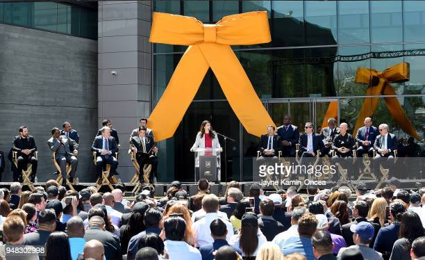 Owner Mia HammGarciaparra of the Los Angeles FC speaks to fans and media at the ribbon cutting ceremony for the new Banc of California Stadium on...