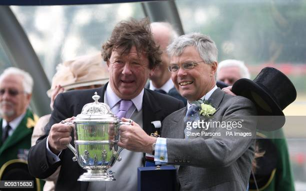 Owner Michael KerrDineen with trainer Hughie Morrison with their trophy after Pisco Sour won the Tercentenary Stakes during Day Three of the 2011...