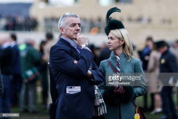 Owner Michael O'Leary at Cheltenham racecourse on St Patrick's Thursday on March 15 2018 in Cheltenham England