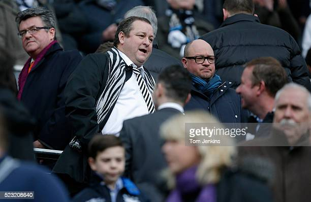 Owner Mike Ashley talks to his managing director Lee Charnley during the Newcastle United v Aston Villa FA Premier League match at St James Park on...