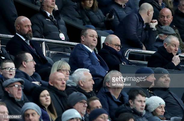 Owner Mike Ashley watches on during the FA Cup Third Round Replay match between Newcastle United and Rochdale at St James Park on January 14 2020 in...