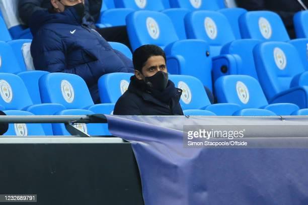 Owner Nasser Al-Khelaifi during the UEFA Champions League Semi Final Second Leg match between Manchester City and Paris Saint-Germain at Etihad...