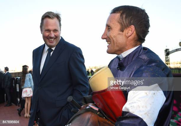 Owner Nick Williams enjoys a smile after Damien Oliver rode Almandin to win Race 8 during Melbourne Racing at Flemington Racecourse on September 16...