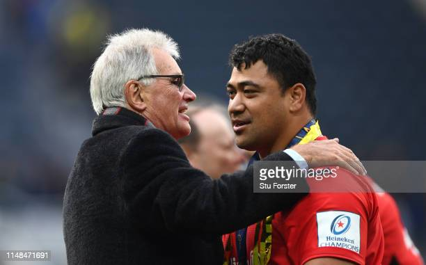 Owner Nigel Wray celebrates with prop Titi Lamositele after the Champions Cup Final match between Saracens and Leinster at St James Park on May 11...