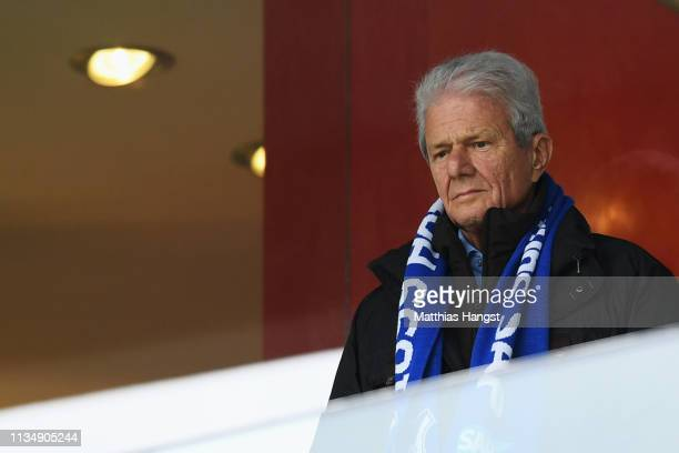 Owner of 1899 Hoffenhein Dietmar Hopp looks on during the Bundesliga match between TSG 1899 Hoffenheim and 1 FC Nuernberg at PreZeroArena on March 10...